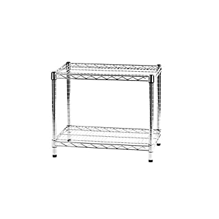 ARCHIMEDE System Modular Shelf Two Shelves, Metal, Chrome, 61 x 36 x 50 cm