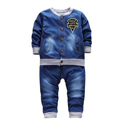Hochzeit Pant Suits Für Frauen (SUCES Baby Junge Kleidung Kleinkind scherzt Jungen-Ausstattungs Kinderkleidung Cowboy Anzug Hirolan 2Stk Set Outfit Kleidung Säugling Baby Brief Denim Tops Hose Kinder Lange Hülse (24M, Blue))