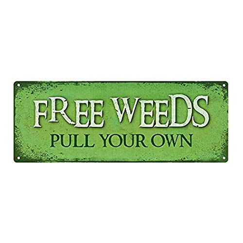 Harvesthouse Free Weeds Pull Your Own Metal Sign, 6 x16, Garden, Spring, Flowers, Rustic décor by -