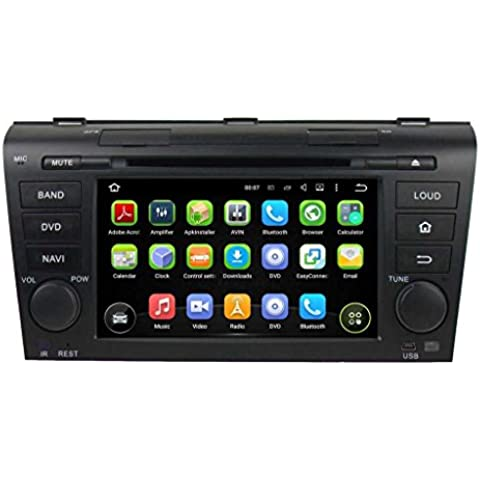 2 Din 7 pulgadas Coche Estéreo con GPS Navegación Android 5.1.1 Lollipop OS para Mazda 3 2004 2005 2006 2007 2008 2009,Pantalla Táctil Capacitiva con 1.6G de la Cortex A9 Quad Core CPU 16G y 1G DDR3 RAM Flash 1024x600 Radio DVD 3G/WIFI OBD2 Aux Entrada USB/SD