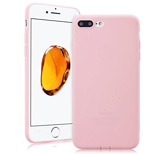 SMARTLEGEND Solido Custodia in Silicone per iPhone 7 Plus(5.5), Morbido TPU Gomma Cover Bumper Candy Case, Soft Flessibile Protettiva Durevole Antiurto Caso Copertura per Regali di Natale - Verde Rosa