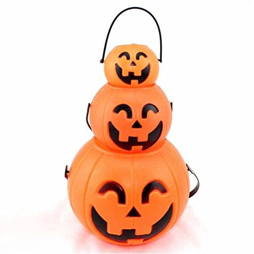 Tinksky Halloween Kürbis Eimer Süßigkeiten Eimer Halter Laterne Süßigkeiten Eimer Kürbis Süßigkeiten Eimer mit LED Licht 7cm 11cm (Mit Eimer Lichtern Kürbis)