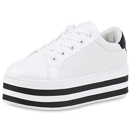 21378e08e2957c SCARPE VITA Damen Plateau Sneaker Basic Leder-Optik Schuhe Schnürer  Turnschuhe 160975 Weiss 39