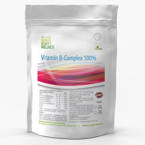 VITAMIN-B KOMPLEX | 250-1000 Tabletten | VEGAN | 100% Tagesbedarf aller B Vitamine, B1 B2 B3 B5 B12 B9 + Biotin mit Folsäure | Beste Qualität zum Besten Preis (1000 Tabletten)