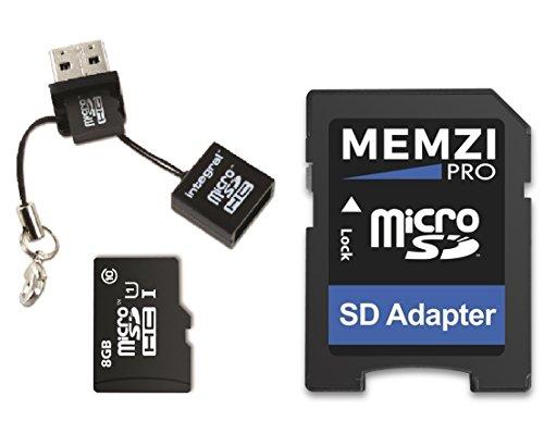 Memzi Pro Micro-SDHC-Speicherkarte (8 GB, Klasse 10, 90 MB/s, mit SD-Adapter und Micro-USB-Reader für Nintendo Wii, Switch oder Handheld-Konsolen)
