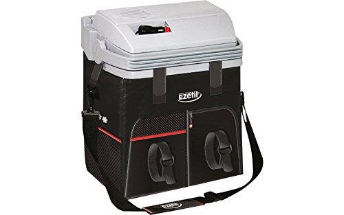 Ezetil Kühlbox ESC28, 12V, schwarz, 27 Liter, 2 Fronttaschen, Thermoelektrische Kühltasche für Auto und LKW