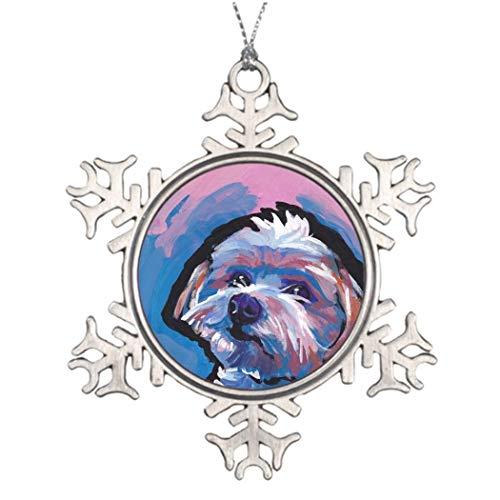 qidushop Morkie Designer Rasse Pop Hund Kunst Weihnachten Deko Weihnachten Schneeflocke Ornament für Weihnachtsbaum -