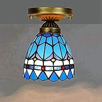 Yjmgrowing Lámpara De Techo De Estilo Tiffany En Retro Azul Vidrieras Pequeñas Lámparas De Techo De Montaje Empotrado para Pasillo Corredor Decorativos Lámpara, E27, 110-240V (Bombillas No Incluidas)