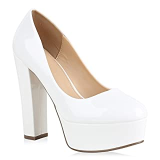 Damen Plateau Pumps Lack High Heels Party Schuhe Plateauschuhe 154448 Weiss Avion 37 Flandell