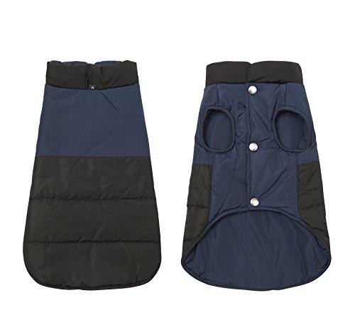 Jeerui Wasserdichte Hundemantel doppelseitige tragen Outdoor-Sport Haustier Kleidung Baumwolle Mantel für Herbst Winter (L, Navy)