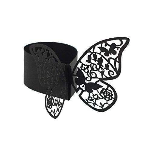 50pcs Papillon Anneau Rond de Serviette Boucle Décoration de Table de Mariage - Noir