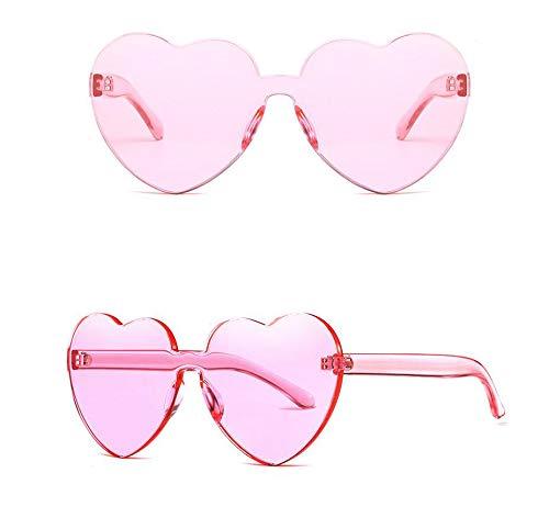 ZHENG Liebes-Sonnenbrillen Europa und Amerika Herz-Sonnenbrillen Frameless Siam Ocean Sonnenbrillen,Lightpink