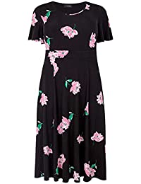 a35fab169f Yours Clothing Women s Plus Size Floral Fit   Flare Dress