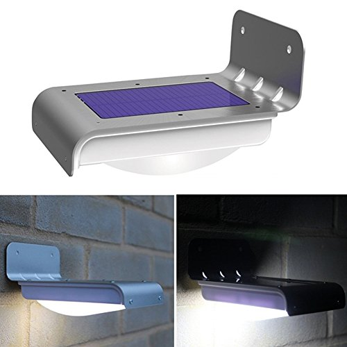 16LED Motion Sensor Solar Light Super Bright Wasserdicht Outdoor Lichterkette Sunpower Solarpanel für Landschaft Garten Terrasse Wand Outdoor Raum weiß -