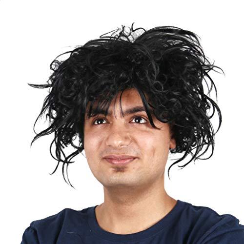 Edward mit den Scherenhänden Perücke, kurze lockige gewellte Haare Perücke für Männer schwarz flauschige Kostüm Party Halloween Cosplay synthetische Perücken Deluxe Grand Heritage