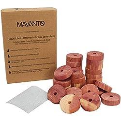 Mavanto 48x Antipolillas de Madera de Cedro para Armarios y Perchas - 100% Natural - incl. Papel de Lija GRATUITO