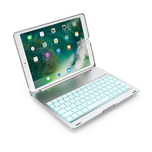 Kabellose Tastatur für iPad 10,5 2019, Aluminiumlegierung Schutzhülle Anti Drop Kratzfest Stehende Flip Hülle Hintergrundbeleuchtung Kabellose Tastatur für iPad Air 10,5 Zoll (Silber)
