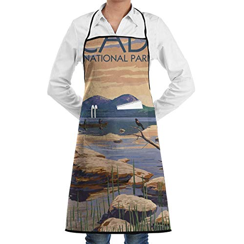 Acadia National Park, Maine Adjustable Kitchen Chef Apron with Pocket and Extra Long Ties,Cooking Kitchen Aprons for Women Men Chef red Apron