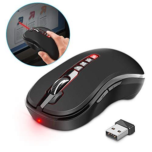 Kabellose Maus Surfacekit Kabelloser Laser Presenter Maus USB Wireless Mäuse Einstellbare 1200 DPI-Pegel anpassbar mit 6 programmierbaren Tasten, Windows, Mac und Chrome OS PC Laptop Office Home -