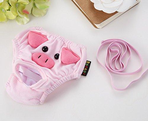 Stock Show Lager Zeigen 2pc Cute Pig Pattern Baumwolle Haustier Hund Windeln Sanitär physiologischen Hose, Waschbar Wiederverwendbar Klein Mittel Girl Puppy/Hund Unterwäsche Panty, L, Rose