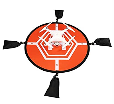 Virhuck 80cm Landing Pad for RC Drone Quadcopter Helicopter, 4 Fixed Points, Collapsible and Waterproof, Protective Shield for DJI Mavic Pro / DJI Spark / DJI Inspire / Phantom 2 3 4 / Syma X5C / Yuneec Typhoon / JJRC H36 DeeRC Predator - Orange and Brown