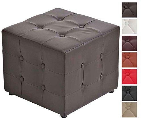 Clp sgabello pouf cubic in similpelle – cubo poggiapiedi imbottito design chesterfield – sgabello cubico per salotto – puff poggiapiedi da divano con piedini – puf design per soggiorno 44x44 cm marrone