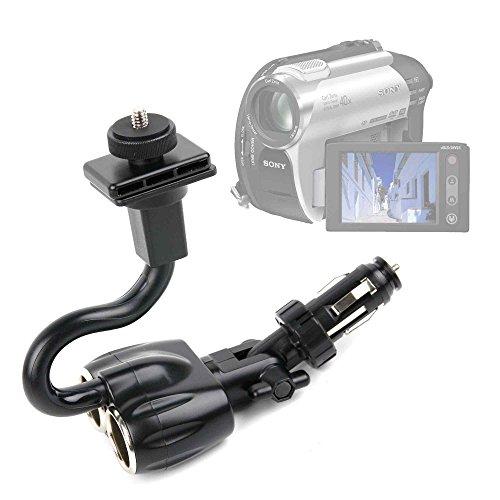 Duragadget supporto accendisigari auto per videocamere aiptek ahd h23 | andoer hdv-312p | canon legria hf g30 | inkint 16 x | samsung vp-dx100 - spazio per carica di altre 2 dispositivi