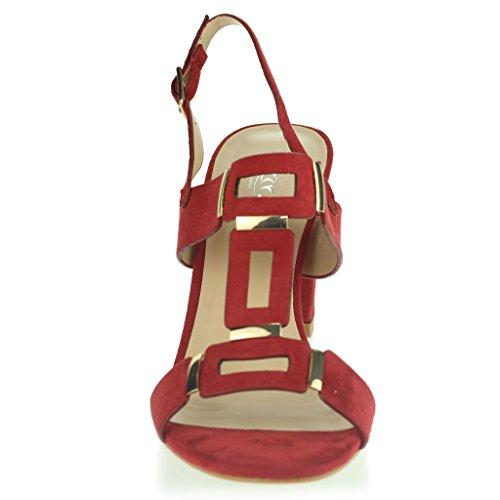Femmes Dames Orteil Ouvert Slingback Courroie de Boucle Soir Casual Fête Talon Moyen Des Sandales Chaussures Taille Rouge