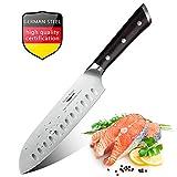 Couteau Santoku, Couteaux de Cuisine Japonais Professionnel 18CM, Lame Anti-Corrosion et Anti-Tarnish, Couteau à Tout Faire
