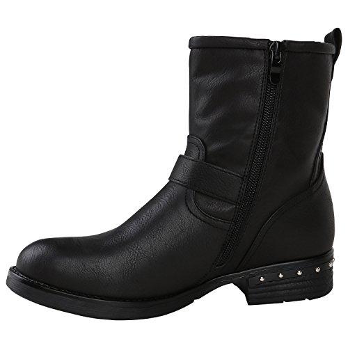 Stiefelparadies Damen Stiefeletten Nieten Biker Boots Gefütterte Stiefel Leder-Optik Schuhe Strass Schnallen Zipper Übergrößen Cut Outs Fransen Flandell Schwarz Bernice
