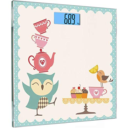 Ultra Slim Hochpräzise Sensoren Digitale Körperwaage Dekor Gehärtetes Glas Personenwaage, Owl at Tea Party Bird mit Zitronen Cupcakes und Teetassen Vintage Design Border Art, White Blue Pin (Blue Pin Bird)