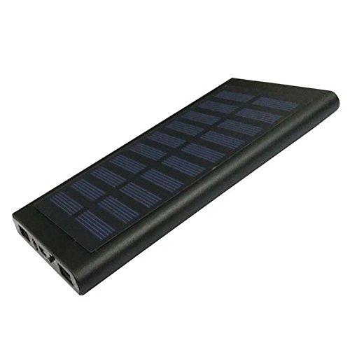 Solar Power Bank Ladegerät Tragbar Ultra Dünn 2Schnelles Laden USB Port Solar Handy Ladegerät 20000mAh Externer Akku für iPhone iPad-Handys, schwarz Solar-powered Iphone
