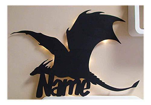 Schlummerlicht24 Led 3d Design Lampe Dragon Drache mit Name, Geschenke für Erwachsene und Kinder Fantasy-Drachen Zubehör