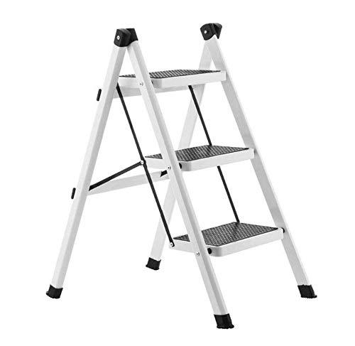 yjll Leiter Hocker Eisenrohr Innen Aluminiumleiter Multifunktionshaushaltsleiter Dreistufiger Treppenstuhl Einseitige Leiter,White