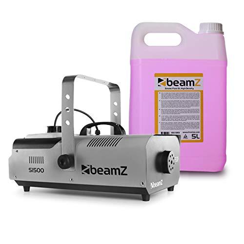 Beamz S1500 Nebelmaschine mit 5-Liter-Nebelfluid • DMX • 1500 W • Stand-Alone-Modus • 2 Liter Tank • Füllstandsanzeige • einstellbare Intensität • schwarz (Laser Nebel)