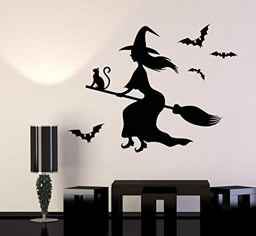 jiuyaomai Vinyl Wall Decal Hexe Black Magic Cat Besom Halloween Aufkleber Halloween Holiday Wandaufkleber Home Decorws 56x42cm (Nagellack Holiday)
