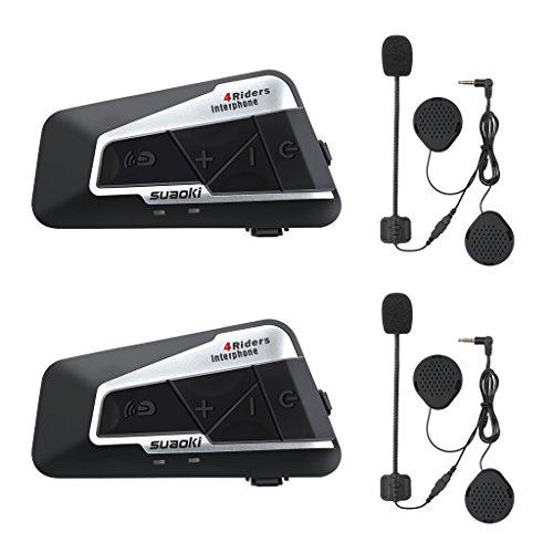 SUAOKI T9S Gegensprechanlage Motorrad Bluetooth Intercom V4 Helm Headset 1200M mit 2 Paar Mikrofone für Motorrad, Fahrrad, ATV, Auto (Dual)