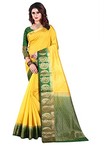 Nirja Creation Cotton Silk Saree (NC-OD-MOR-03_Yellow_Free Size)