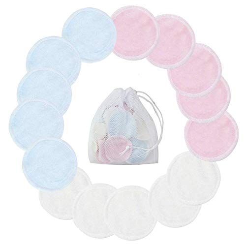 15pcs Bamboo Reusable Makeup Wipes 3 Colors Bamboo Makeup Remover Pads with Laundry Bag Washable Clean Skin Care Round Pads Cleansing Towel Wipes (Pink White Blue)