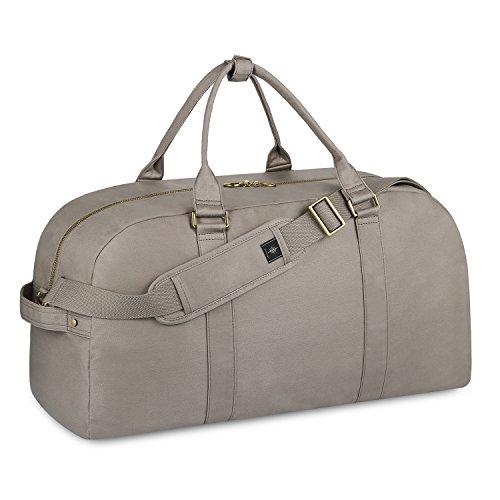 BONTHEE Groß Canvas Reisetasche Damen Weekender Damen Grau Reisetaschen Handgepäck Damen 45L, Grau