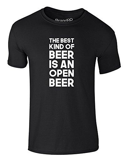 Brand88 - The Best Kind Of Beer Is An Open Beer, Erwachsene Gedrucktes T-Shirt Schwarz/Weiß