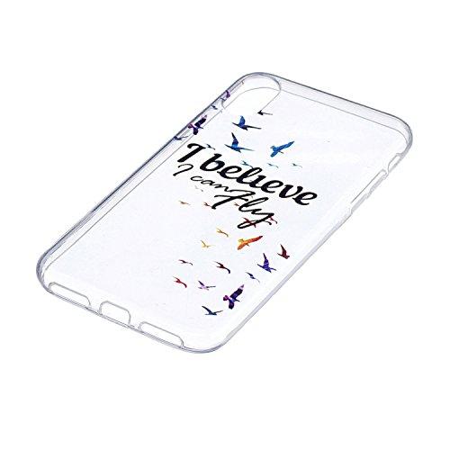 """Coque pour Apple iPhone X , IJIA Transparent Pissenlit Petite Fille TPU Doux Housse Silicone Case Bumper Cover Shell Etui pour Apple iPhone X (5.8"""") HX21"""