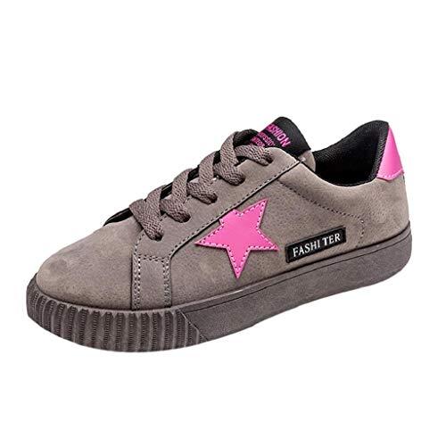QUICKLYLY Zapatillas de Mujer Zapatos de Corriendo Calzado Casual y Deportivo con Cordones con Forma De Estrella(Gris,37CN)