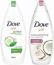 Dove Go Fresh Nourishing Body Wash, 190ml & Dove Coconut Milk and Jas Petals Body Wash, 190ml