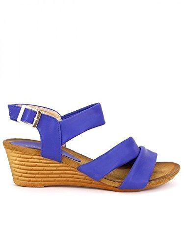 Cendriyon, Compensée Blue simili cuir TAY'S Chaussures Femme Bleu