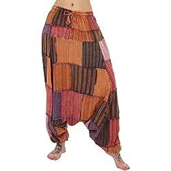Pantalones de un harén-Baggy Drop entrepierna-Parche multicolor Striped Patch Talla única