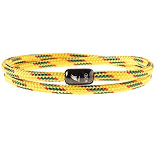 Wind Passion Durable Rope Cord Cuff Yellow Bracelet with Magnetic Clasp for Men Women, XX-Large Size