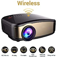 XMIMI Mini wifi projector Wireless digital led projector with HDMI USB AV Support 1080P 12 00 Lumenssupported for home cinema Theater Movie low noise&long life