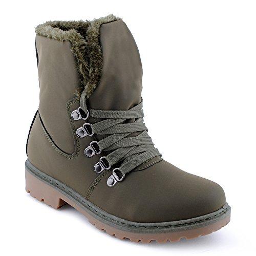 Damen Stiefeletten Biker Schür Stiefel Reißverschluss Warm Gefüttert Velours-Optik Boots Profilsohle Schuhe Dunkelgrün