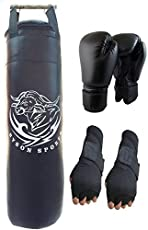 Byson 36 Inches Strong and Hard Punching Bag, Glove and Hand Wrap Boxing Kit (j15)